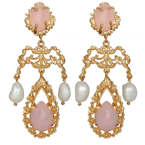 Liliana Earrings Gold/Pink