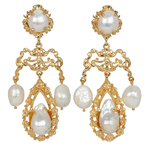 Liliana Earrings Gold/Pearl