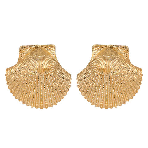 Clam Shell Earrings Gold