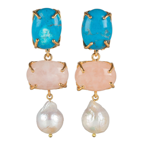 Loren Earrings Pale Pink & Turquoise