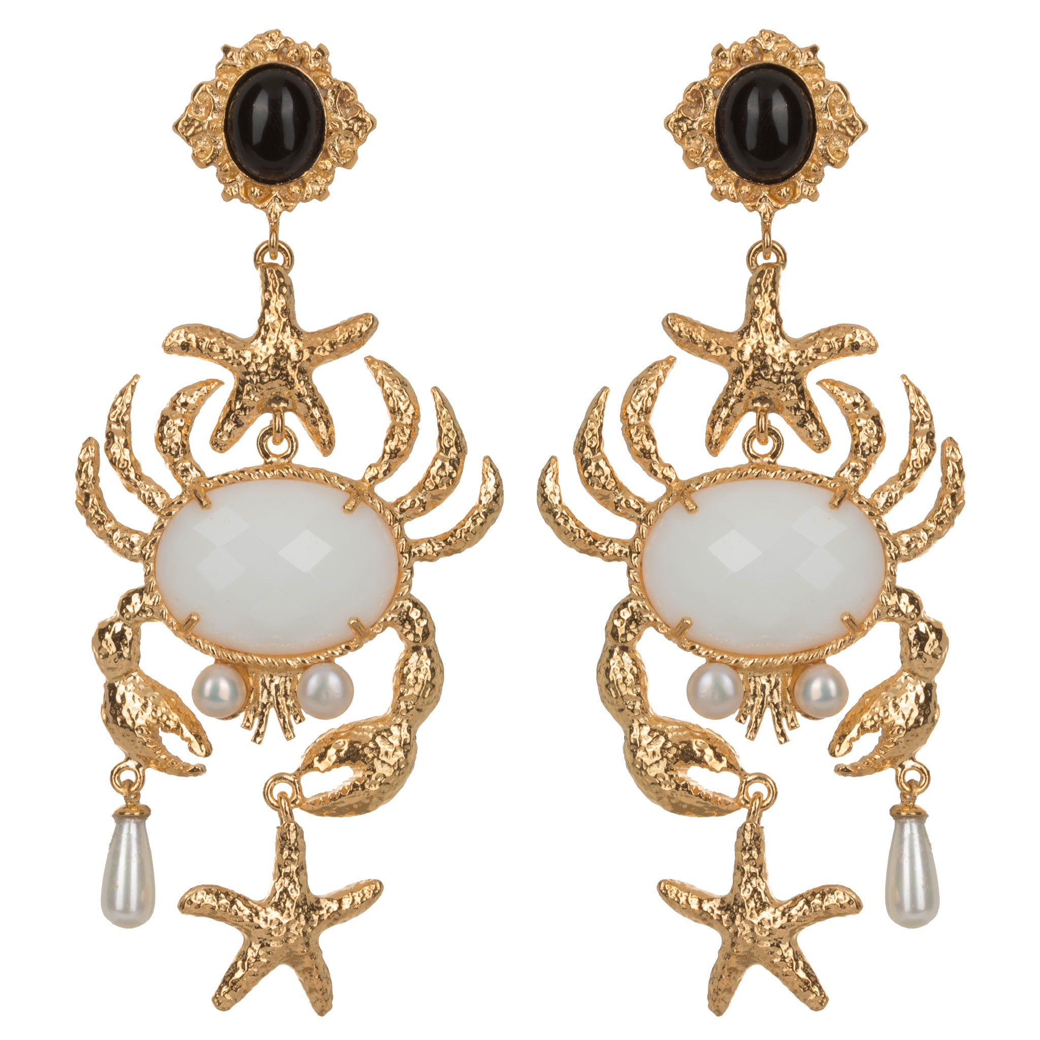 Majolica Earrings White