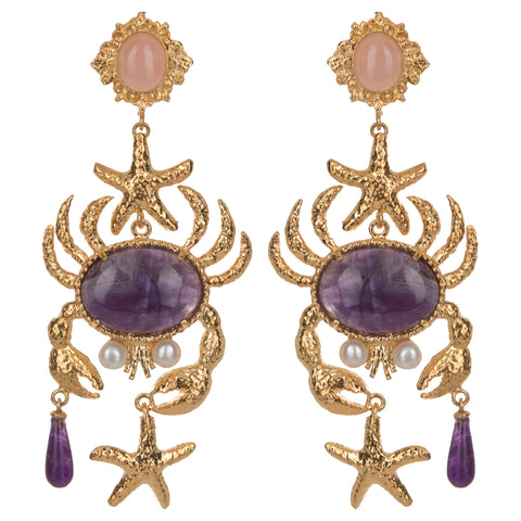 Majolica Earrings Purple