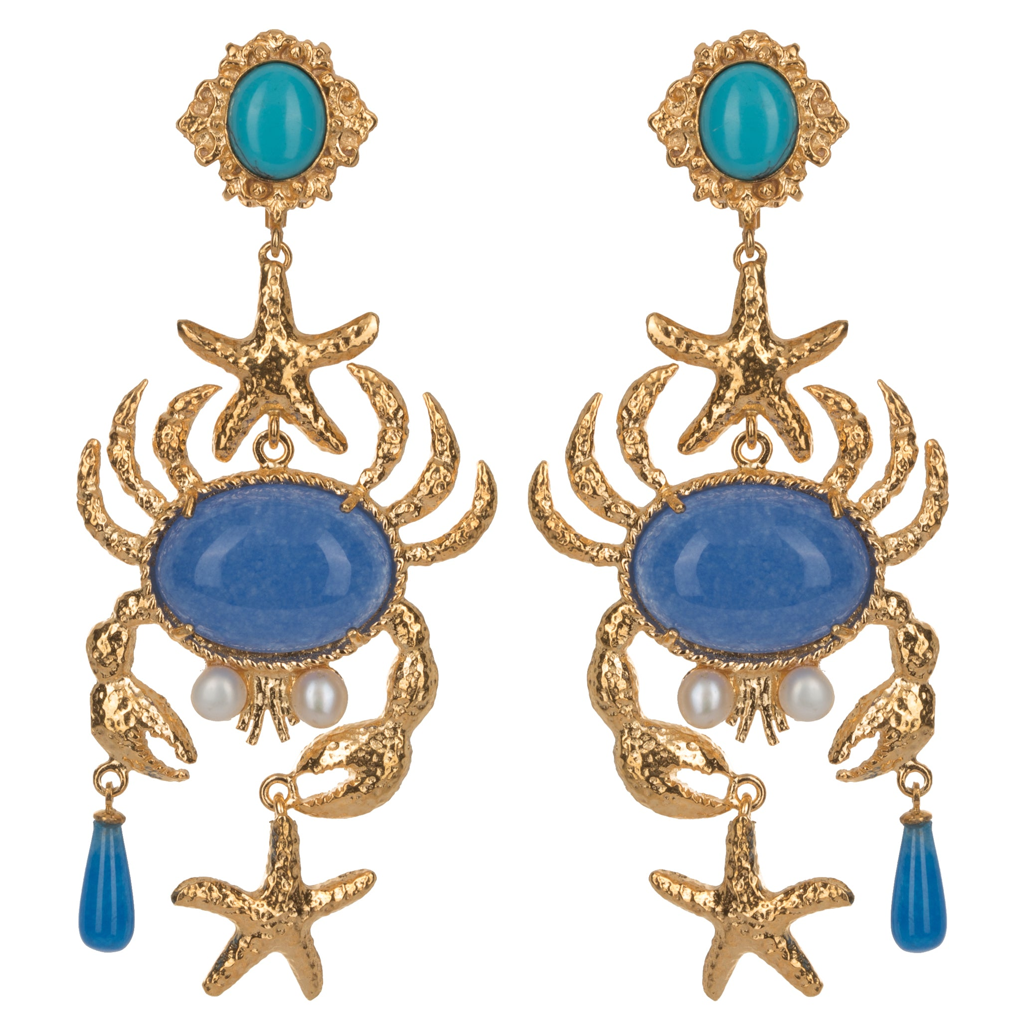 Majolica Earrings Blue