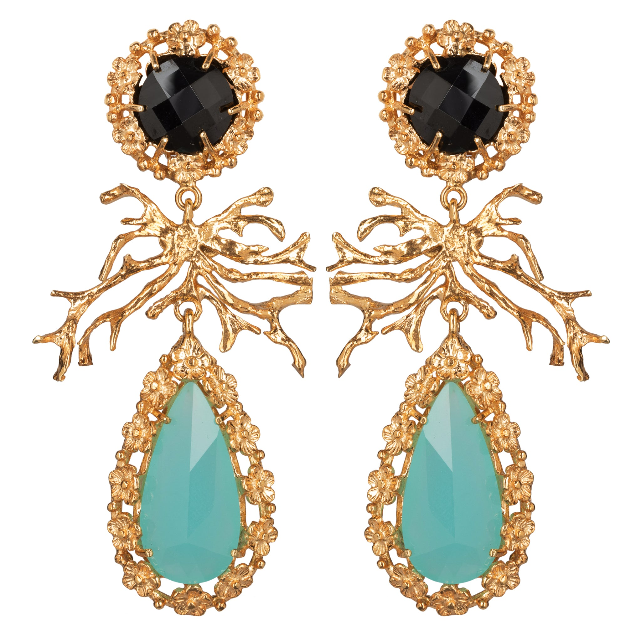 Camile Earrings Turquoise Crystal