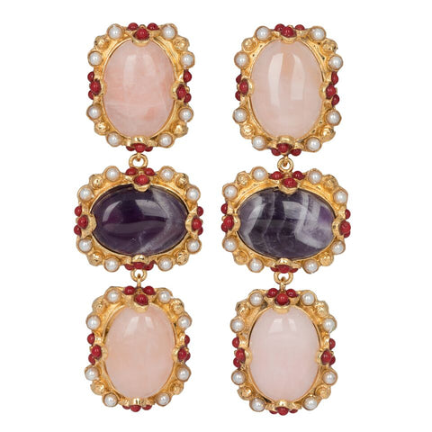 Allegra Earrings Rose Quartz