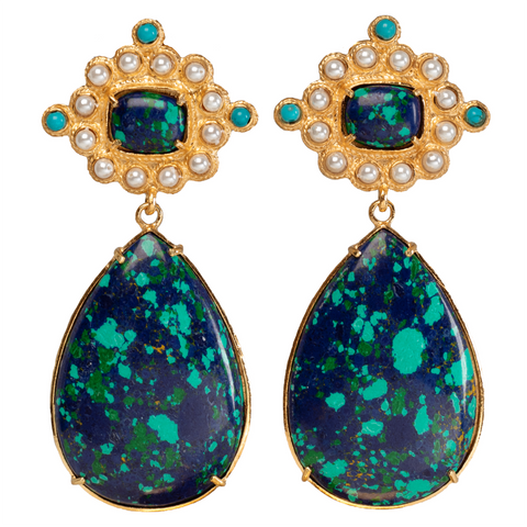 Carmina Earrings Green/ Blue
