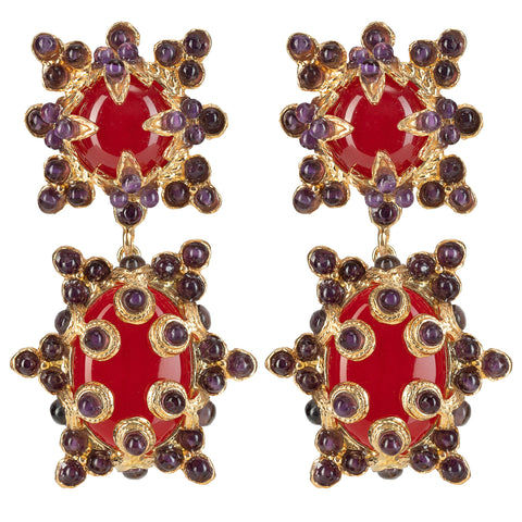 Lucia Earrings Red & Amethyst