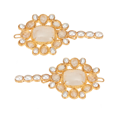 Malle Hair Clip Moonstone (Pair)