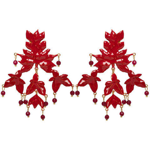 Mini Magdalena Earrings Gold & Red