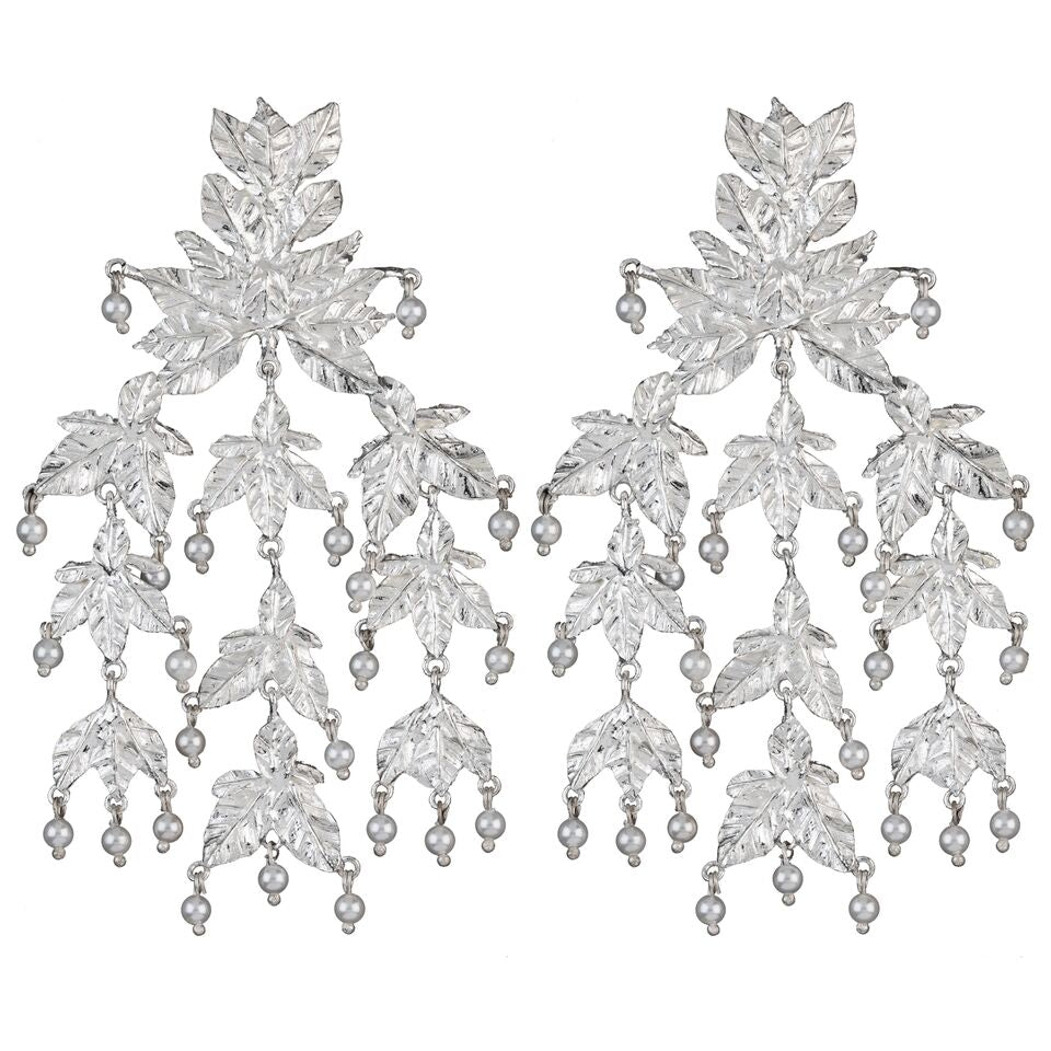 Magdalena Earrings Silver & Pearl