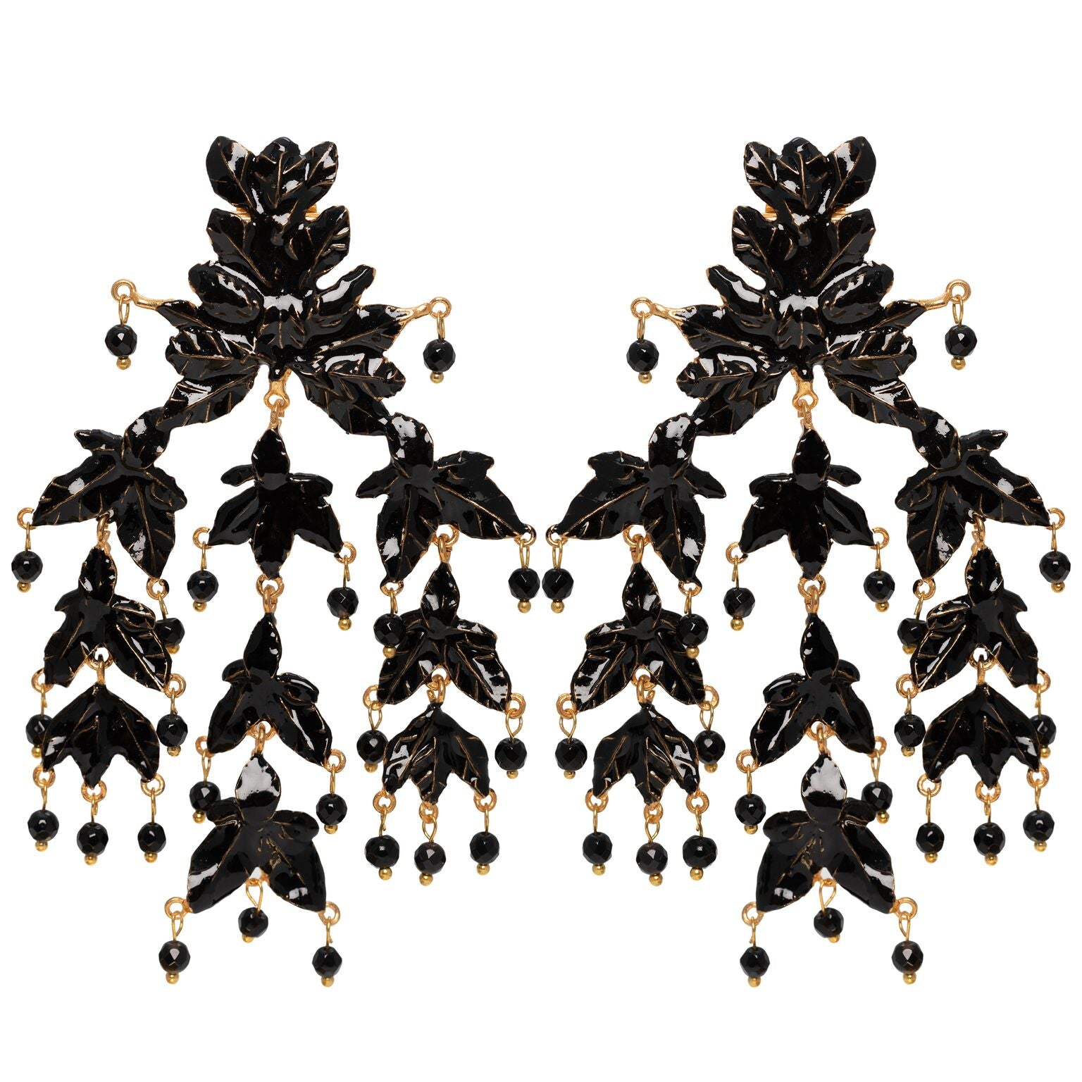Magdalena Earrings Gold & Black