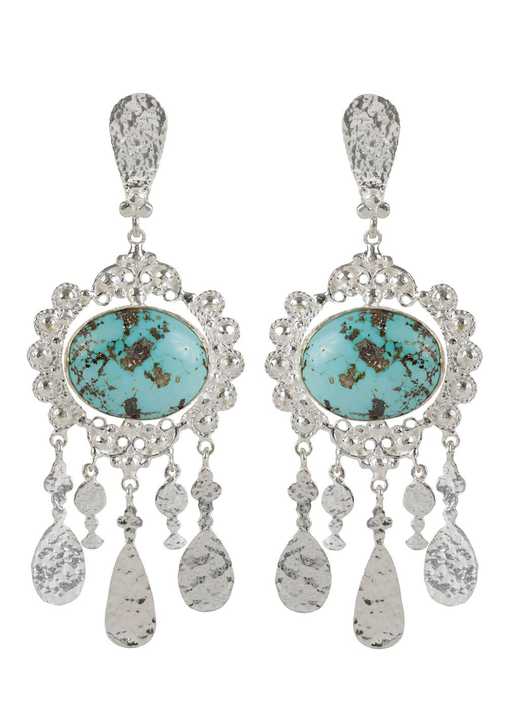 Iris Earrings Silver & Turquoise