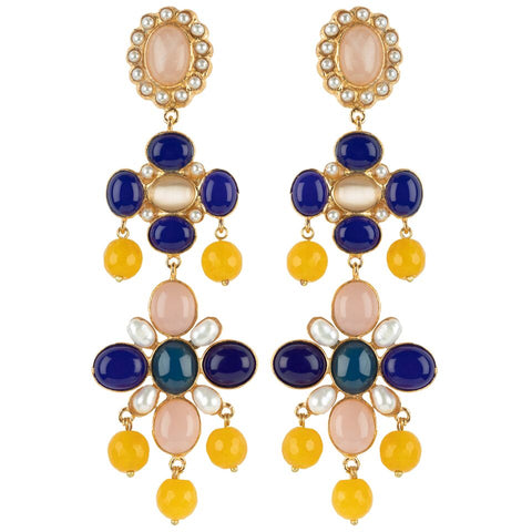 Julietta Earrings Blue & Pink