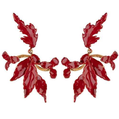 Flor Earrings Red