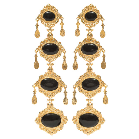 Audrey Earrings Gold Black