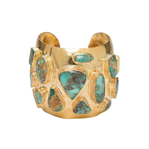 The Adonie Cuff Gold & Turquoise