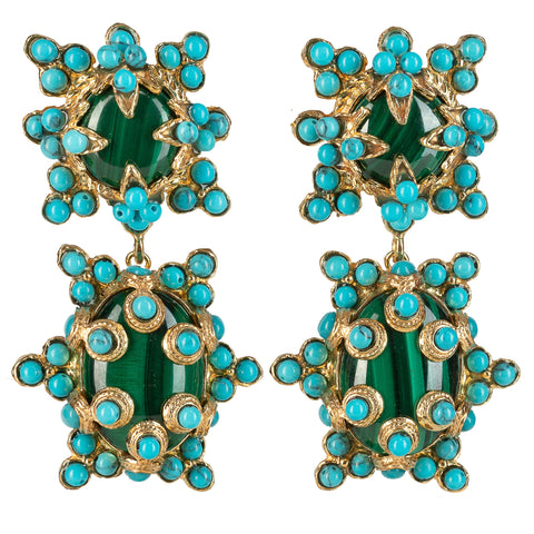 Lucia Earrings Malachite & Turquoise