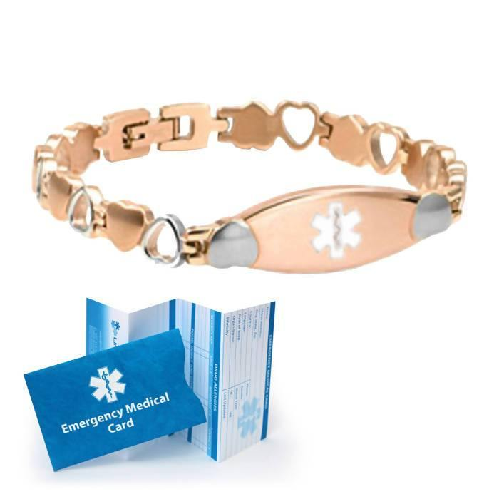 Rose Gold Heart Link Medical ID Bracelet - Custom Engraved - The Useless Pancreas