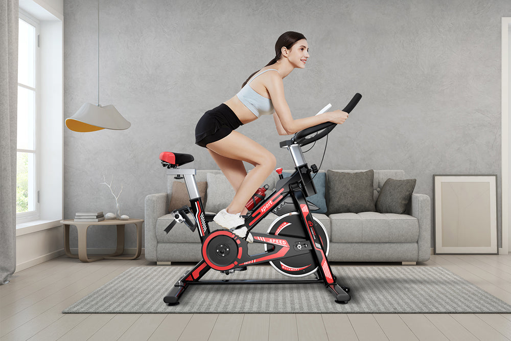 Using the Front Sole to Step the Exercise Bike