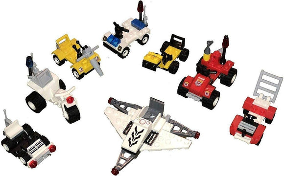 Set of 8 Mini Brick Building Toy Car Variety Set & Figures