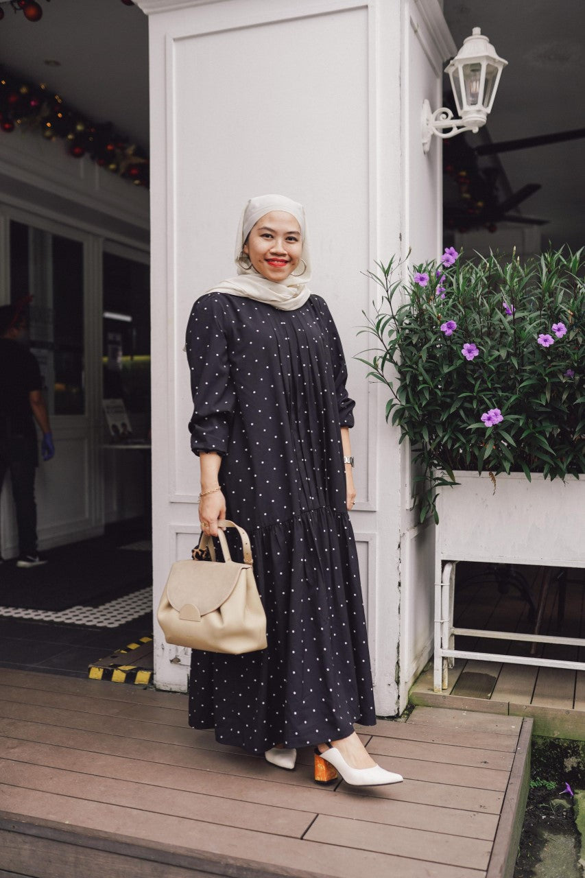 JULIA DRESS IN BLACK POLKA
