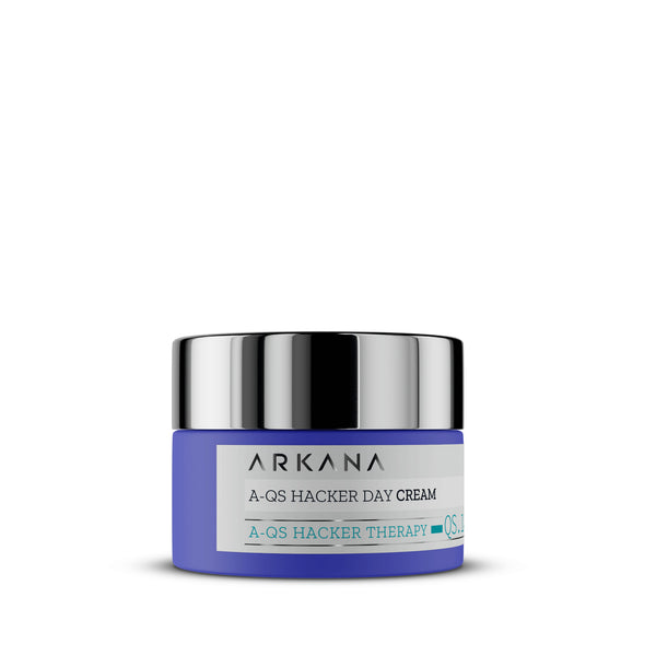 Navy blue bottle for A-QS Hacker Day Cream in plain white background. Arkana Canada Neuro Cosmetics. Light mattifying day cream targeting oily, combination, acne-prone skin.  Gently moisturizes and balances the skin's microbiome while reducing acne, blackheads, sebum levels, bacteria, and pore size. Utilizes the power of anti-quormones in the Noni plant to disrupt communication between acne-causing bacteria on the skin. For use when breakouts have calmed to regulate skin and prevent acne.
