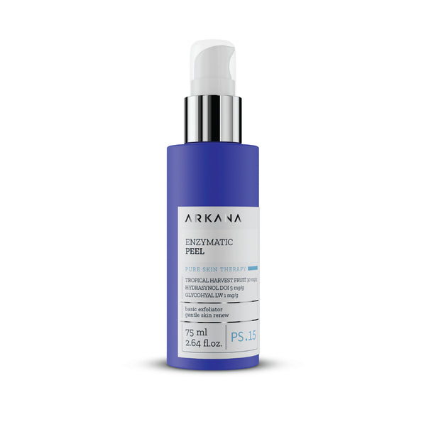 "Tall navy blue 75 ml bottle with white pump and clear case. Black text on light grey label reading, ""Arkana - Enzymatic Peel. Tropical Harvest Fruit, Hydrasynol DOI 5 mg/g, Glycohyal LW. Basic Exfoliator Gentle Skin Renew. Part of Pure Skin Therapy. Centred in white background."