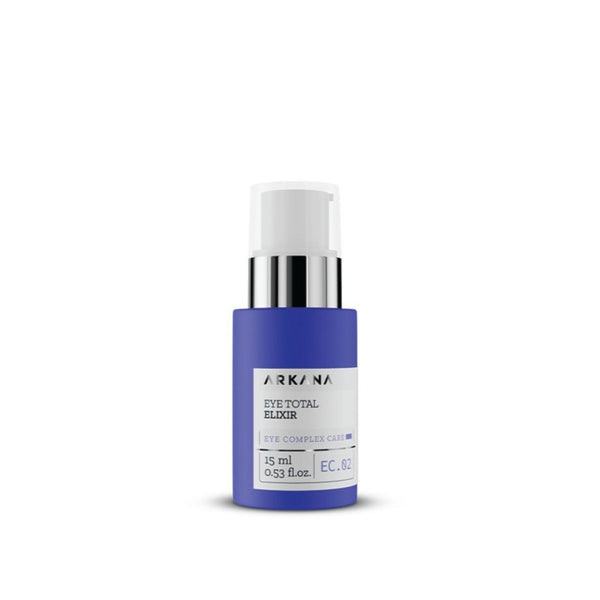 "Slim short navy blue bottle of 15 ml and white pump with clear cap. White label in black text reading ""ARKANA Eye Total Elixir"". Part of Eye Complex Care. Centred in white background."