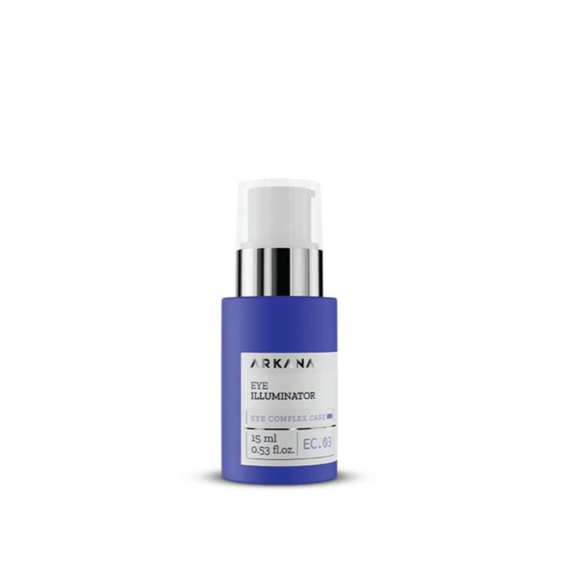 "Slim short navy blue bottle of 15 ml and white pump with clear cap. White label in black text reading ""ARKANA Eye Illuminator"". Part of Eye Complex Care. Centred in white background."