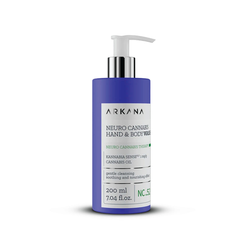"Tall navy blue 200 ml bottle with white pump. Black text on light grey label reading, ""Arkana - Neuro Cannabis Hand & Body Washing. Kannabia Senseplf 1 mg/g Cannabis Oil. Gentle Cleansing, soothing and nourishing effect. 200 ml, 7.04 fl.oz.. Part of Neuro Cannabis Therapy. Centred in white background."