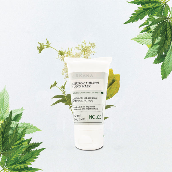 "White tube bottle of 30 ml 1.06 fl.oz. ""Arkana - Neuro Cannabis Hand Mask"" ""Cannabis Oil 100 mg/g, Poppy Oil 100 mg/g, Quick relief for dry hands, protection and regeneration. Centred in front of green florals, cannabis leaves top right hand corner and bottom left hand corner in off white background."
