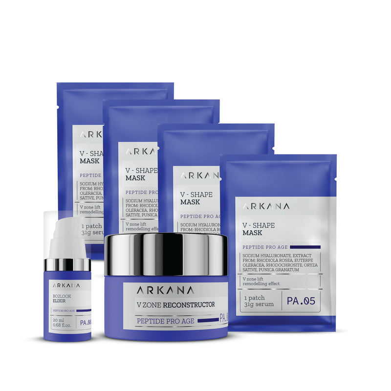 Four blue pouches labeled as V Shape Mask laid out diagonally behind a shallow cylinder navy blue bottle labelled as V Zone Reconstructor, and a slim tall navy blue bottle labelled as Bo2Look Elixir with white nozzle and clear cap. All items are placed in plain white backdrop. This Pro-Age Special Gift set for Anti-Aging treatment.