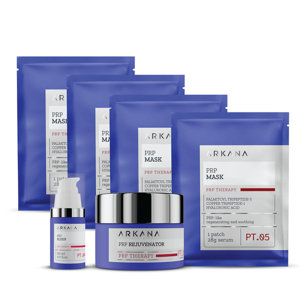 Four blue pouches labeled as PRP Masks laid out together behind a shallow cylinder navy blue bottle labelled as PRP Rejuvenator, and a slim tall navy blue bottle labelled as PRP Elixir. All items are placed in plain white backdrop. This is PRP Special Gift set for Anti-Aging treatment.