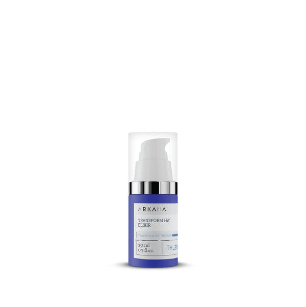 Navy blue 20ml bottle for Transform Ha Elixir by Arkana Canada Neurocosmetics. Set in plain white background, with white nozzle and clear cap. Part of Transform HA Therapy line focused on hydrating and plumping out wrinkles. Natural fillers and anti-aging elixir.