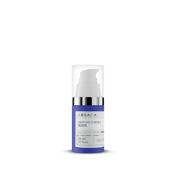 Navy blue bottle for UniTone Forte C Elixir with small pump in plain white background. Part of UniTone Neuro Therapy by Arkana Canada Neurocosmetics. Used to prevent and fight against discolouration and uneven tones.