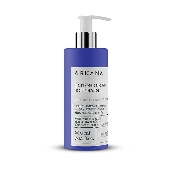 Navy blue bottle for UniTone Neuro Body Balm in white background. Part of UniTone Neuro Therapy by Arkana Neurocosmetics. Brightening balm recommended for face and/or body care after hair removal.
