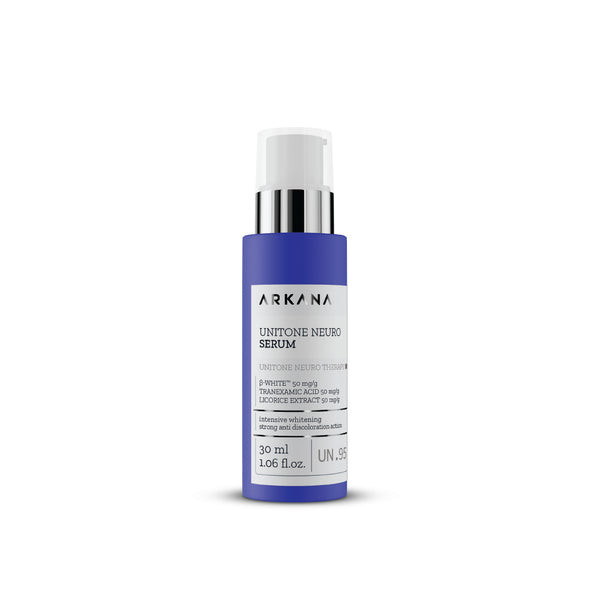 Navy blue bottle for UniTone Neuro Serum by Arkana NeuroCosmetics. Part of UniTone Neuro Therapy line that focuses on evening out hyperpigmentation as a result of acne scarring, redness burns, hormonal and vascular effects. Serum works to prevent and fight against future skin discolouration and damage from UV Rays.