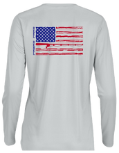 Load image into Gallery viewer, Ladies Long Sleeve UPF Performance Shirt with American Flag