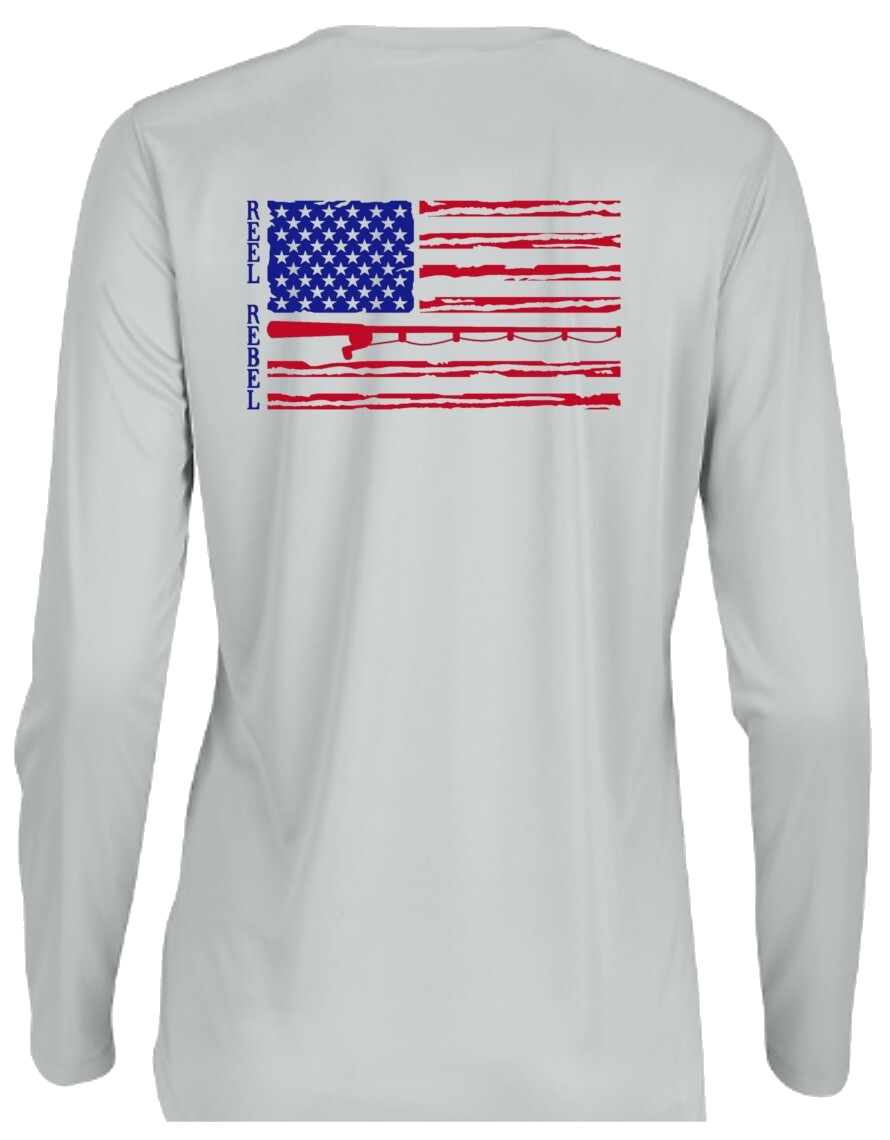 Ladies Long Sleeve UPF Performance Shirt with American Flag