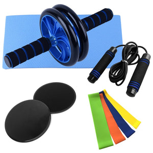 9 PCS Home Gym Fitness Set Abdominal Roller Wheel Knee Pad Disc Core Slider Resistance Loop Band Jump Rope Pack Kit ab roller