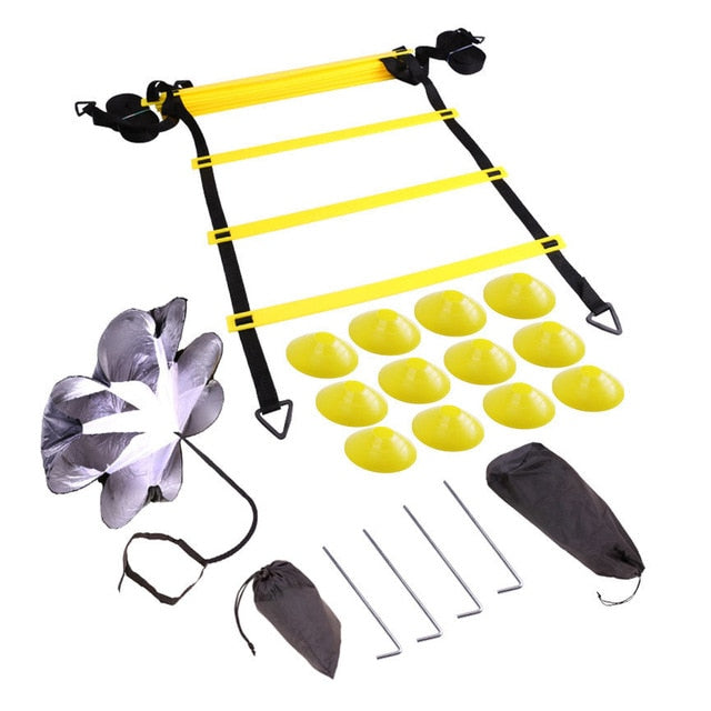 Adjustable Footwork Soccer Football Fitness Speed Rungs Agility Ladder Training Equipment Kit with Resistance Parachute Disc