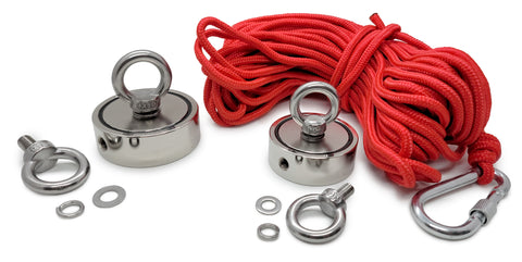 eyebolt fishing magnet with red rope