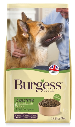 Burgess Dog Sensitive Brits Lam / Rijst 12,5 KG - Stuff4Pets || Dutchdales