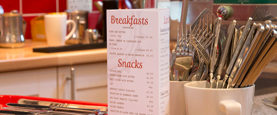 design and print your own café and restaurant menus and point of sale