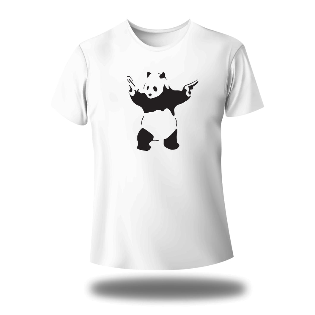 Panda with gun Round Neck