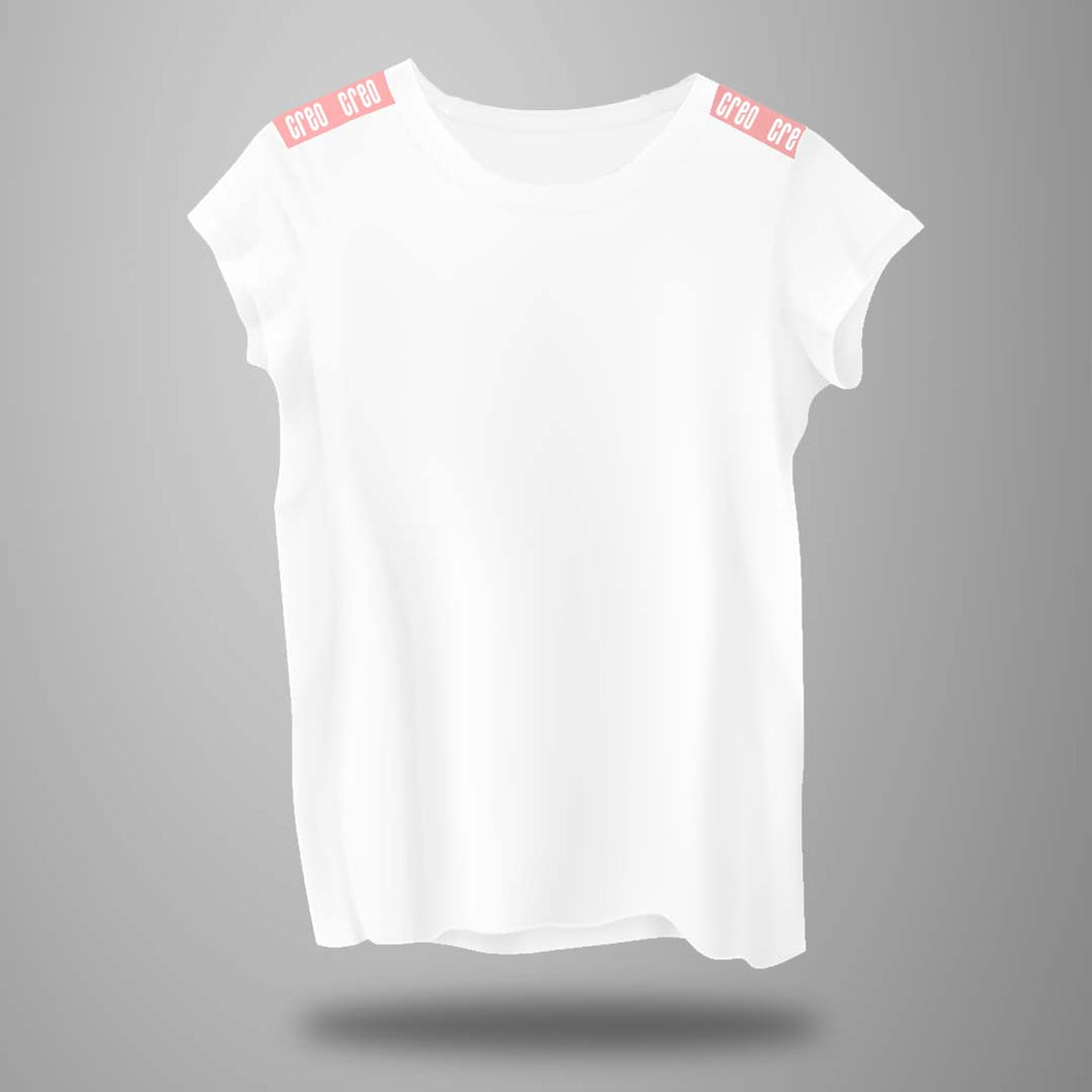 Women white t-shirt new cut pink strap