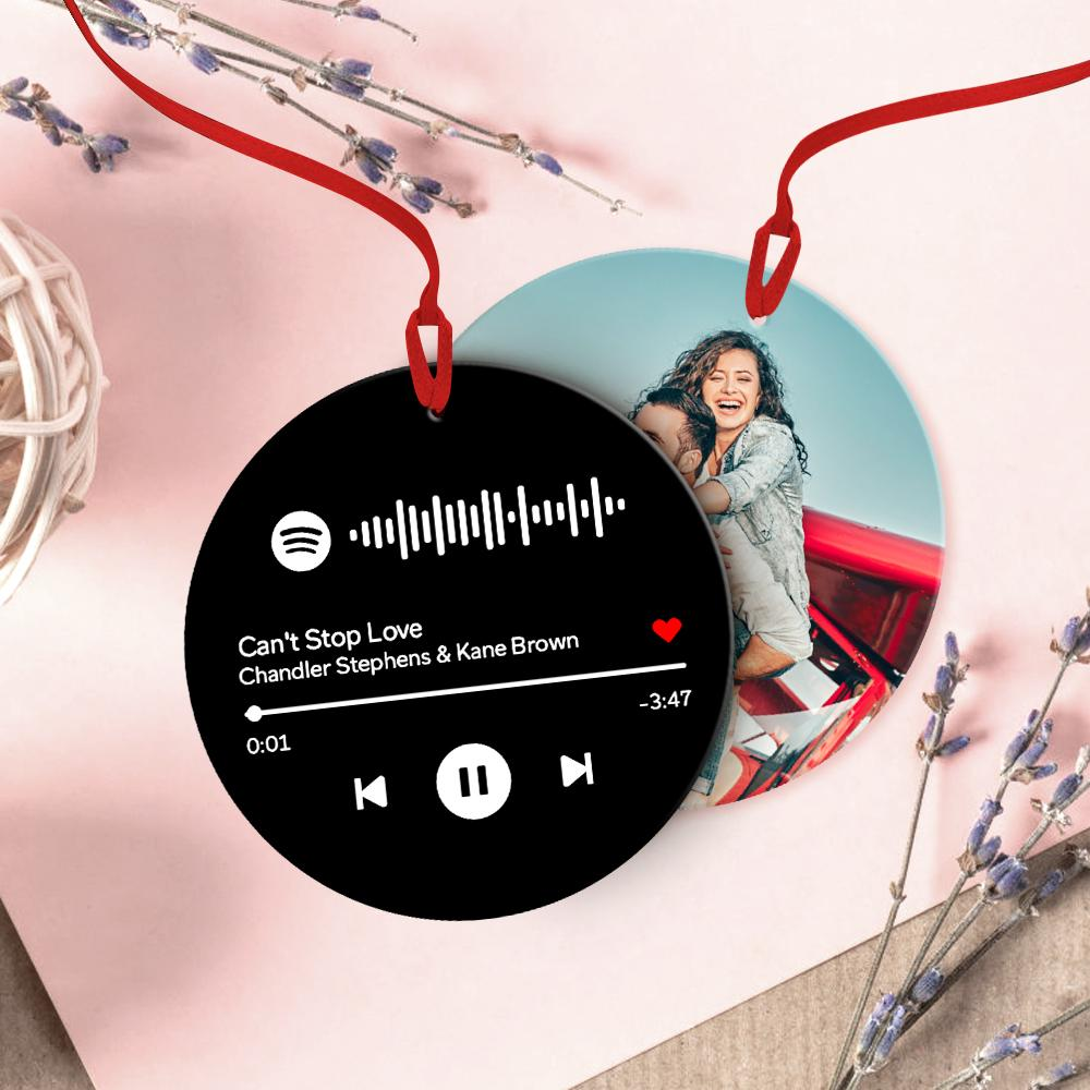 Custom Spotify Code Music Hanging Ornament With Photo - Black For Valentine's Day