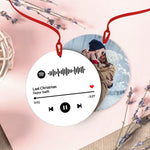 Custom Spotify Code Music Hanging Ornament With Photo - White For Valentine's Day