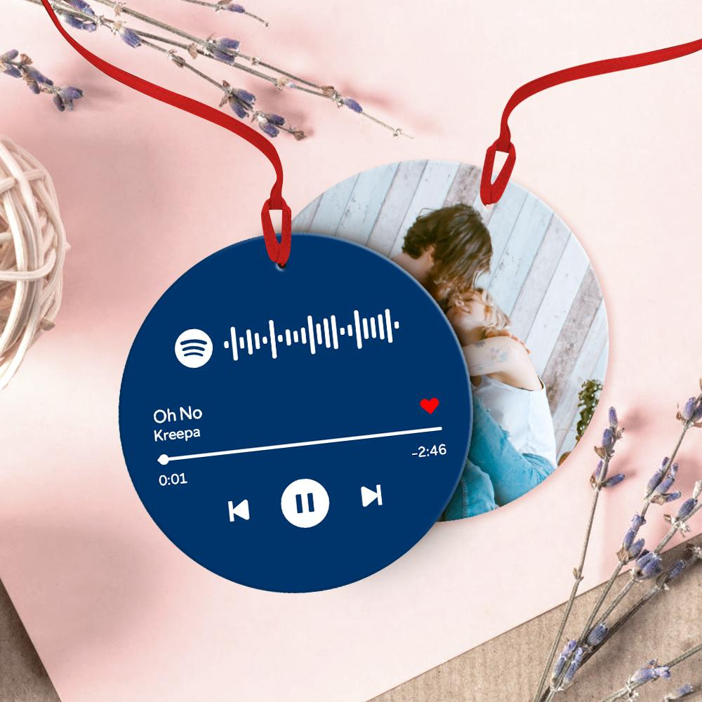 Custom Spotify Code Music Hanging Ornament With Photo - Blue For Valentine's Day