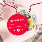 Custom Spotify Code Music Hanging Ornament With Photo - Pink For Valentine's Day